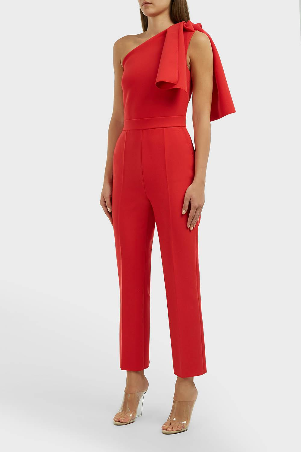 3c6422fdd2a7 Lyst - MSGM Bow One-shoulder Jumpsuit in Red - Save 12%