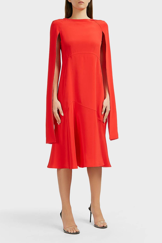 4365e79f372 CALVIN KLEIN 205W39NYC Cape-sleeve Silk-cady Dress in Red - Lyst