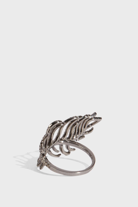 Rosa De La Cruz Feather Ring in Metallic