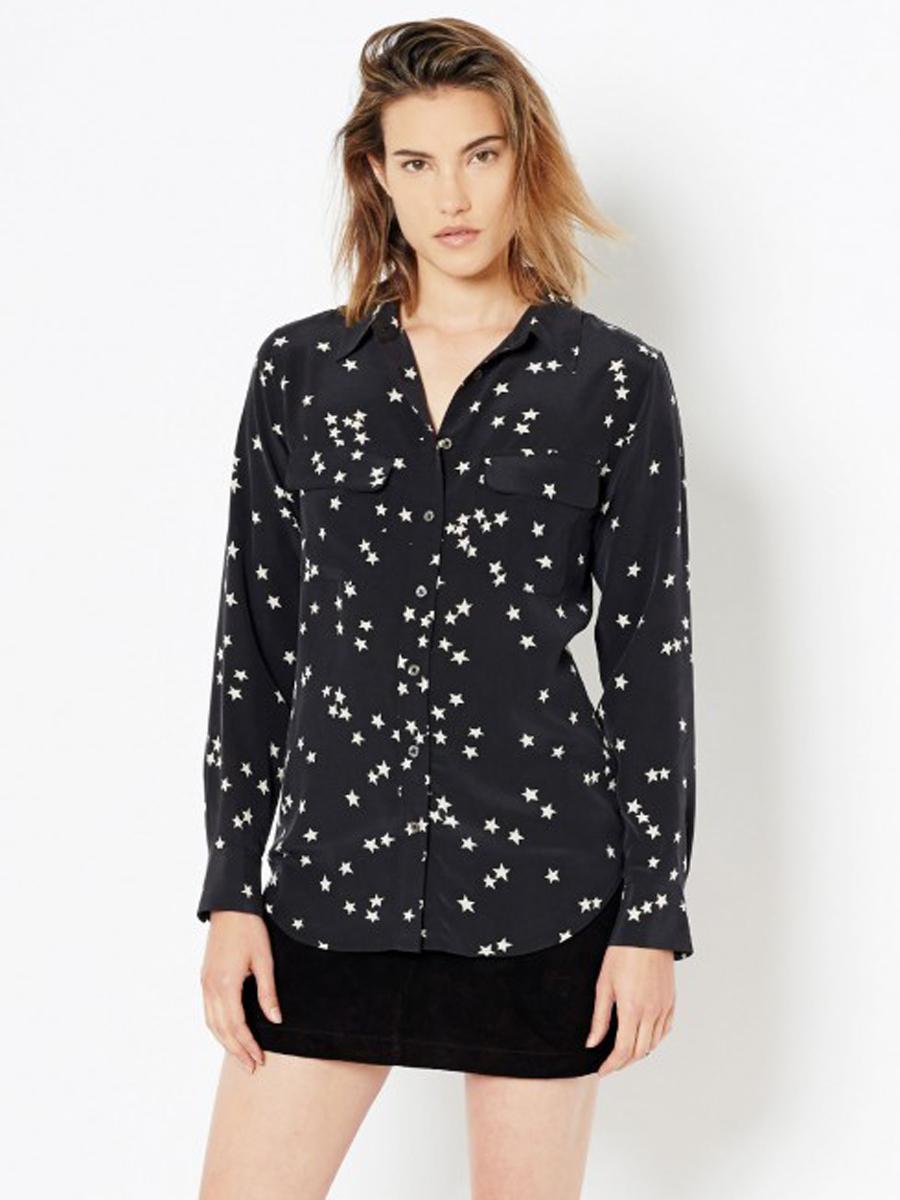Equipment slim signature silk shirt in black star print in for Equipment black silk shirt