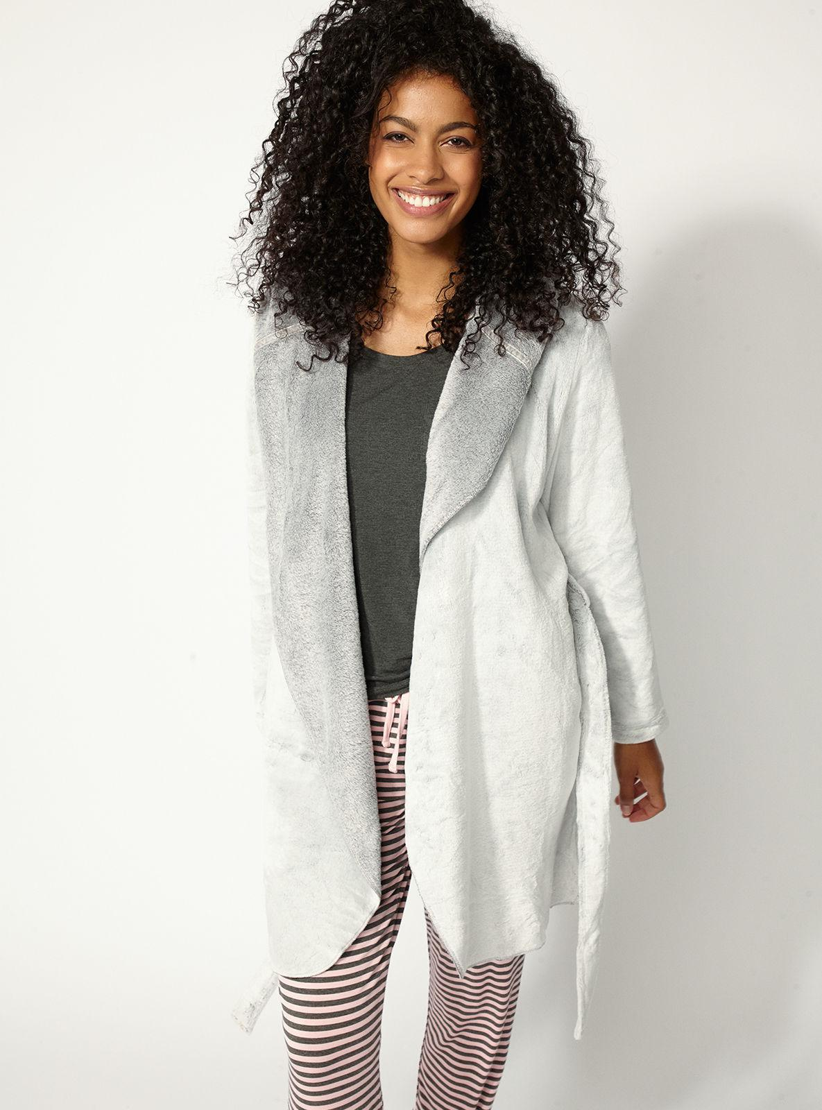 Lyst Boux Avenue Hooded Waterfall Dressing Gown In Gray