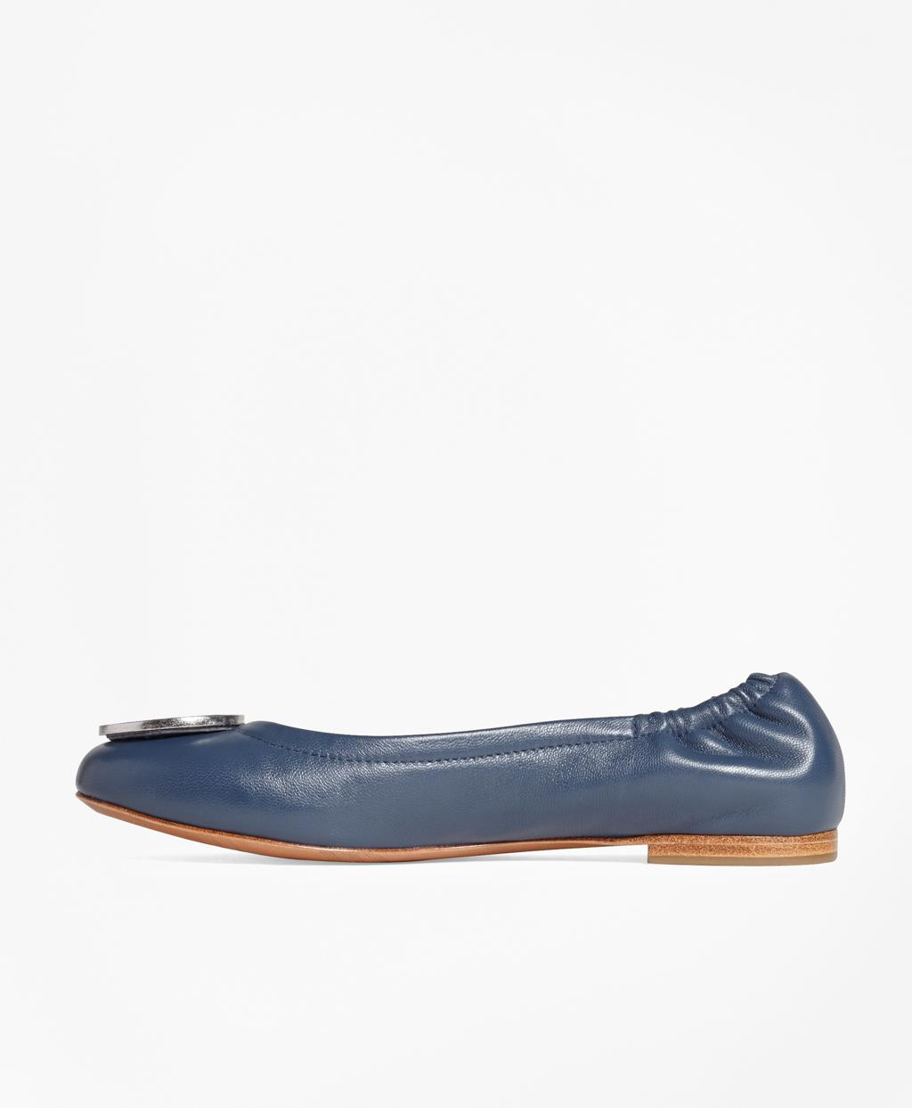4e78d127dc9 Brooks Brothers Logo Medallion Leather Flats in Blue - Lyst