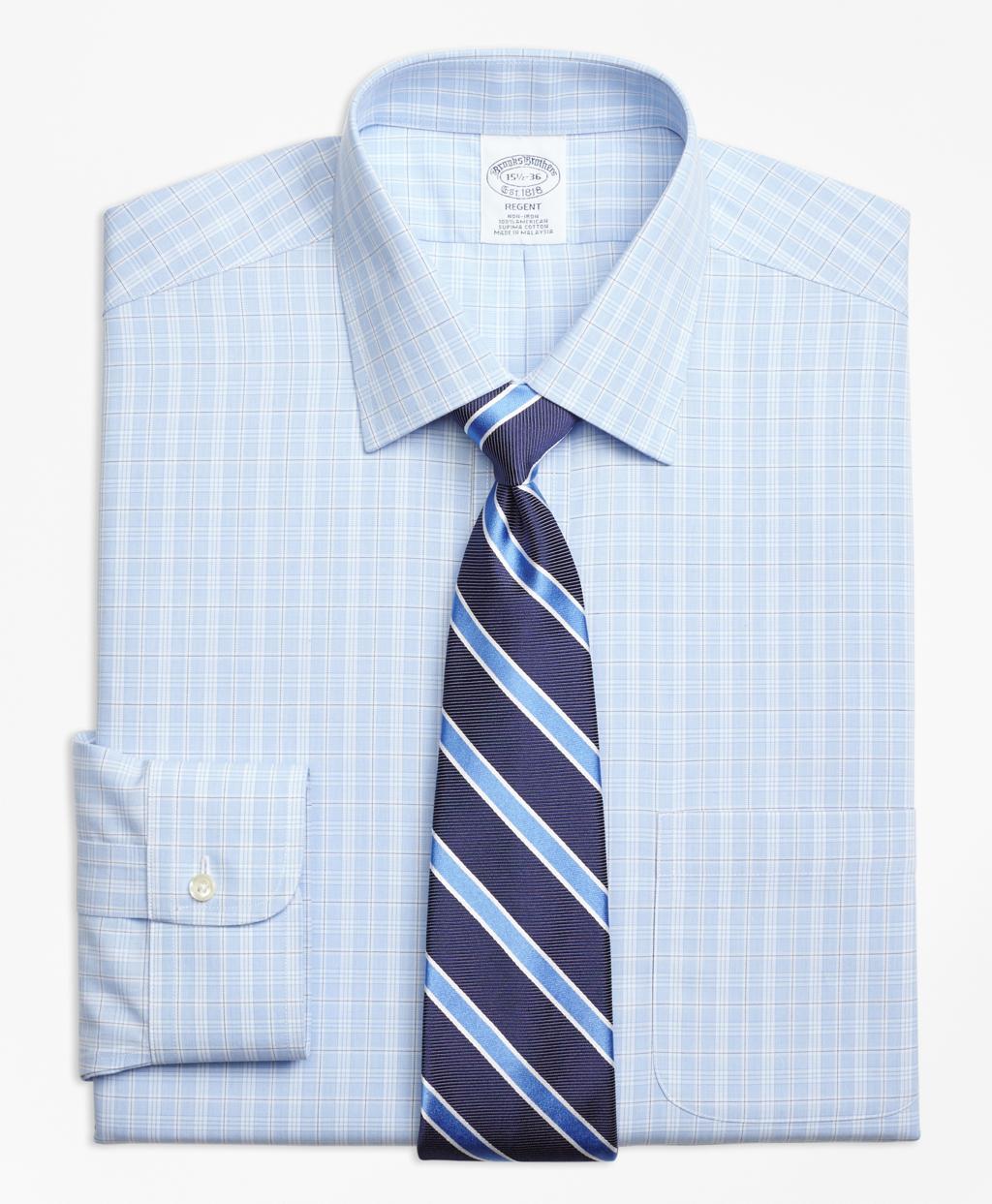Brooks brothers non iron regent fit overcheck dress shirt for Brooks brothers dress shirt fit