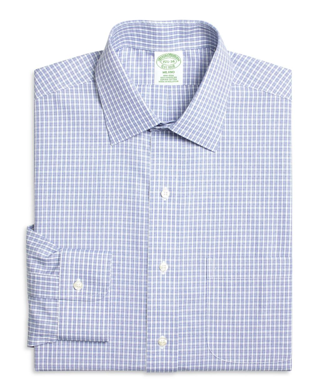 Brooks brothers non iron milano fit parquet check dress for Brooks brothers dress shirt fit