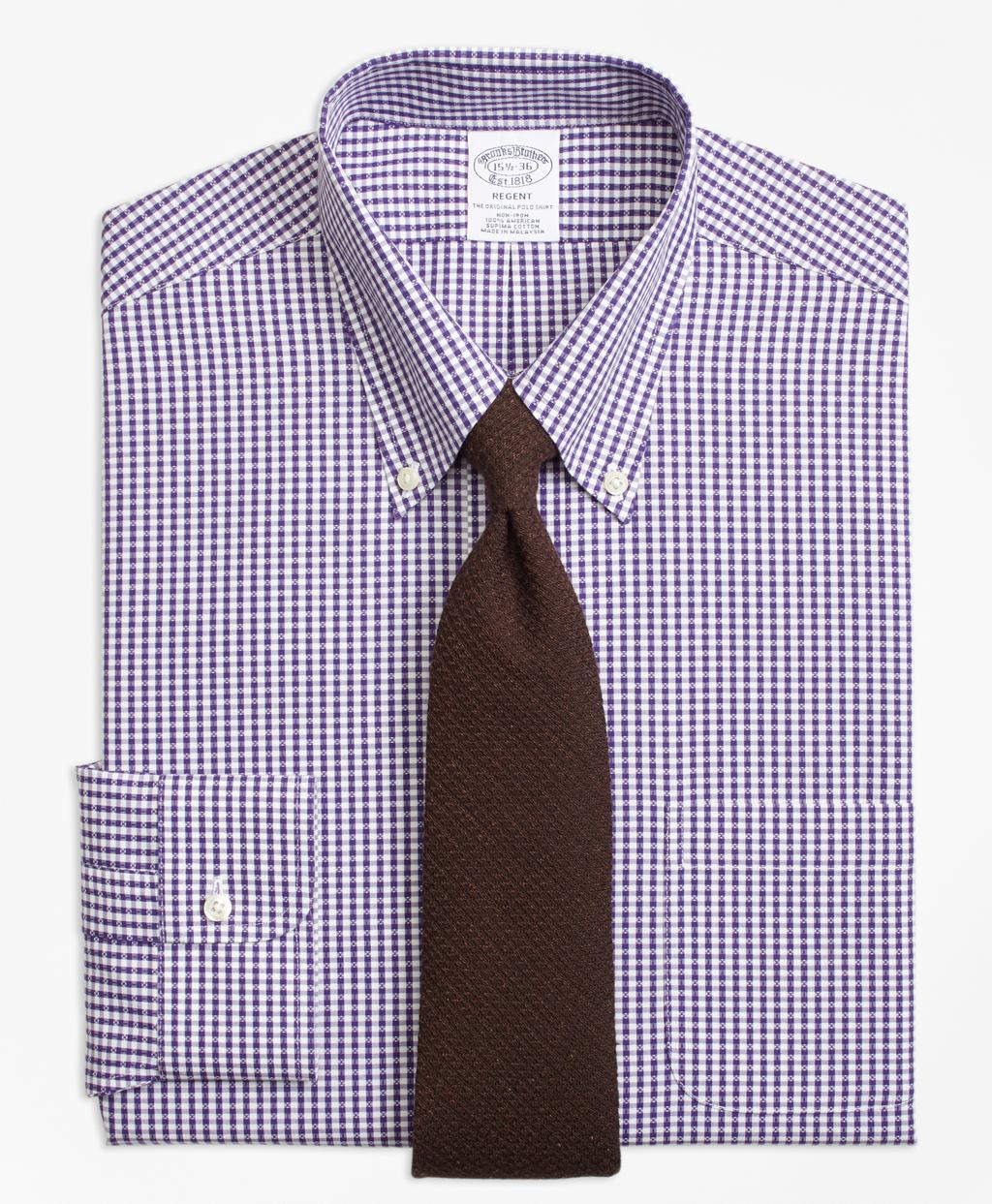Lyst brooks brothers non iron regent fit dobby gingham for Brooks brothers non iron shirts review
