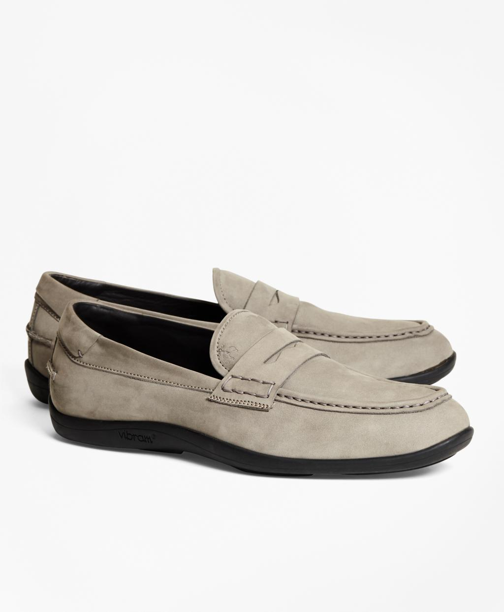 08d66fa24cc5e Lyst - Brooks Brothers 1818 Footwear Suede Penny Moccasins in Gray ...