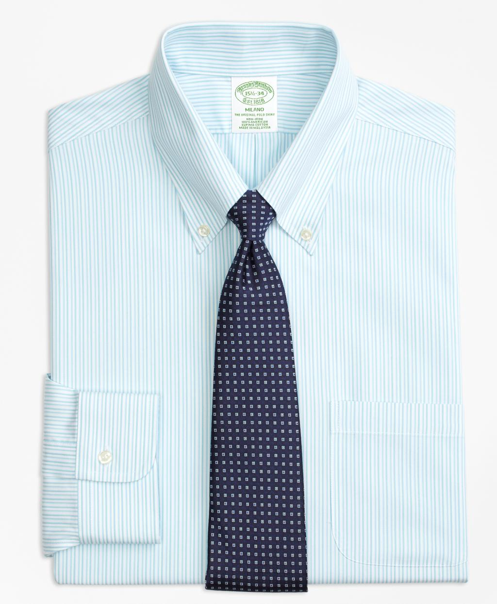 Lyst brooks brothers milano slim fit dress shirt non for Brooks brothers non iron shirts review