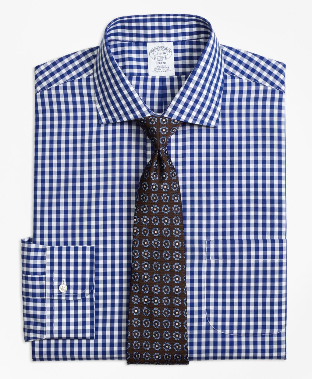 Lyst brooks brothers non iron regent fit gingham dress for Brooks brothers dress shirt fit