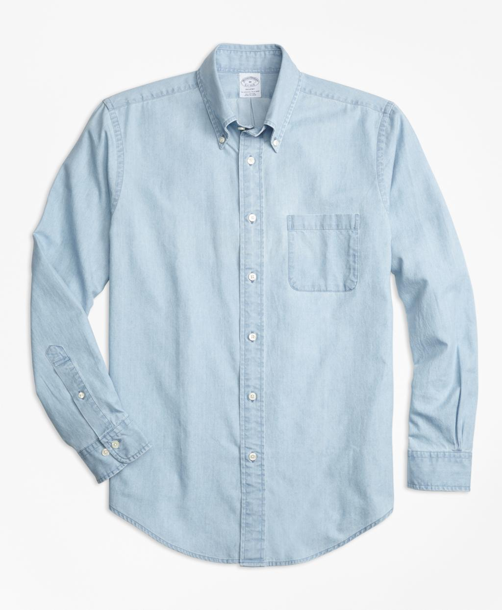 Lyst brooks brothers regent fit indigo chambray sport for Brooks brothers sports shirts