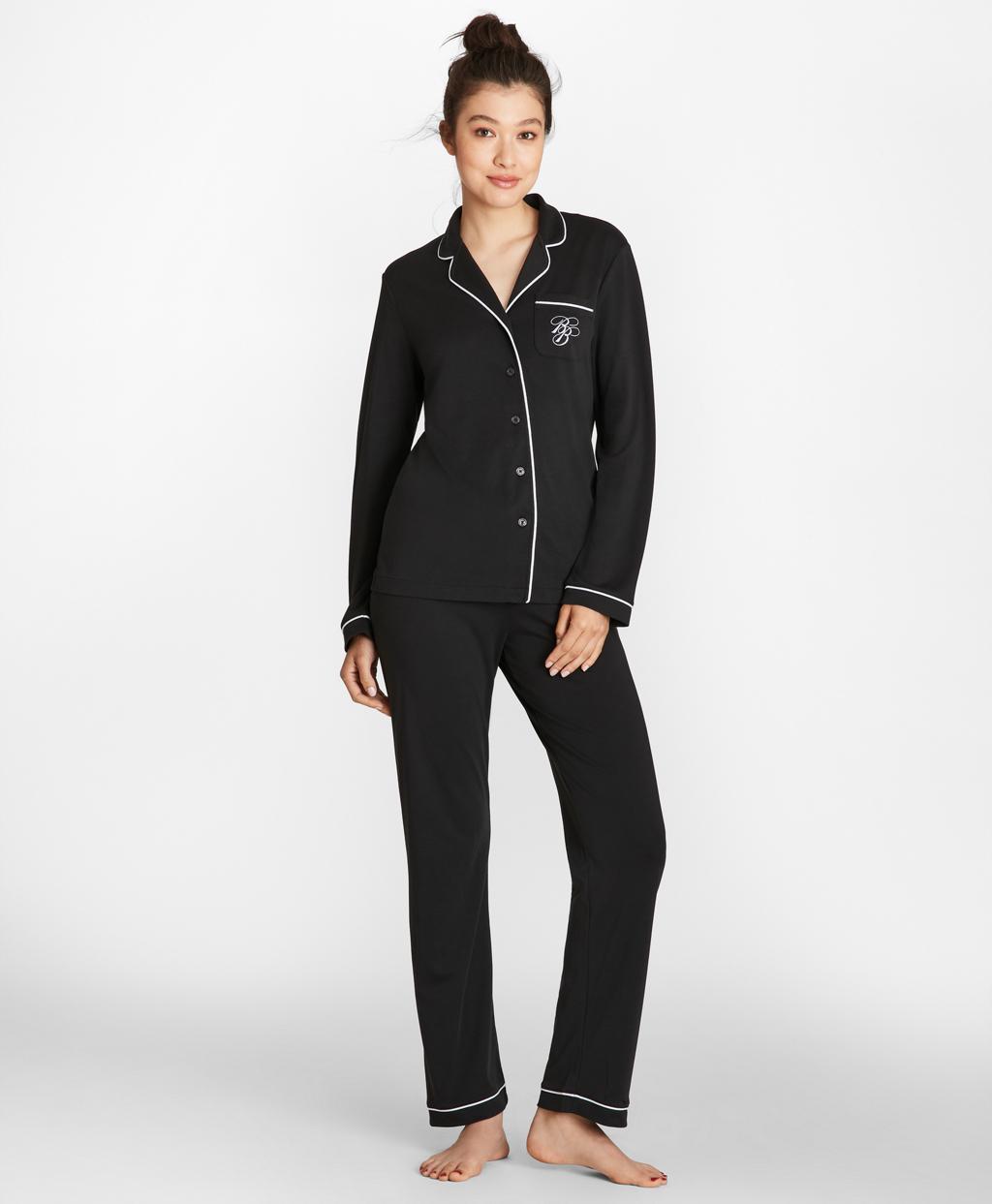 7a11f779d Brooks Brothers. Women s Black Logo-embroidered Pima Cotton Interlock  Jersey Pyjama Set