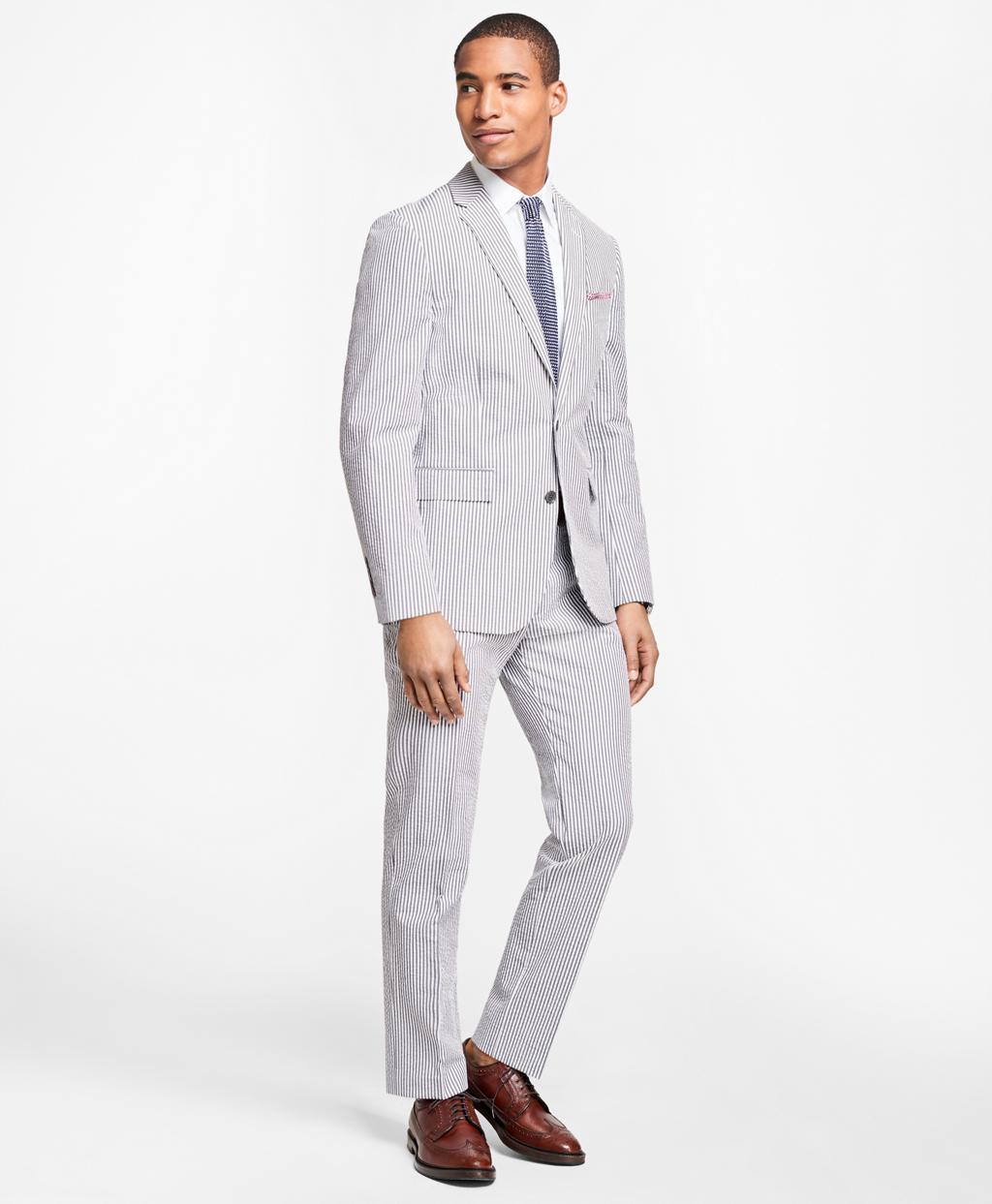 Brooks Brothers Stripe Cotton Seersucker Suit Jacket In