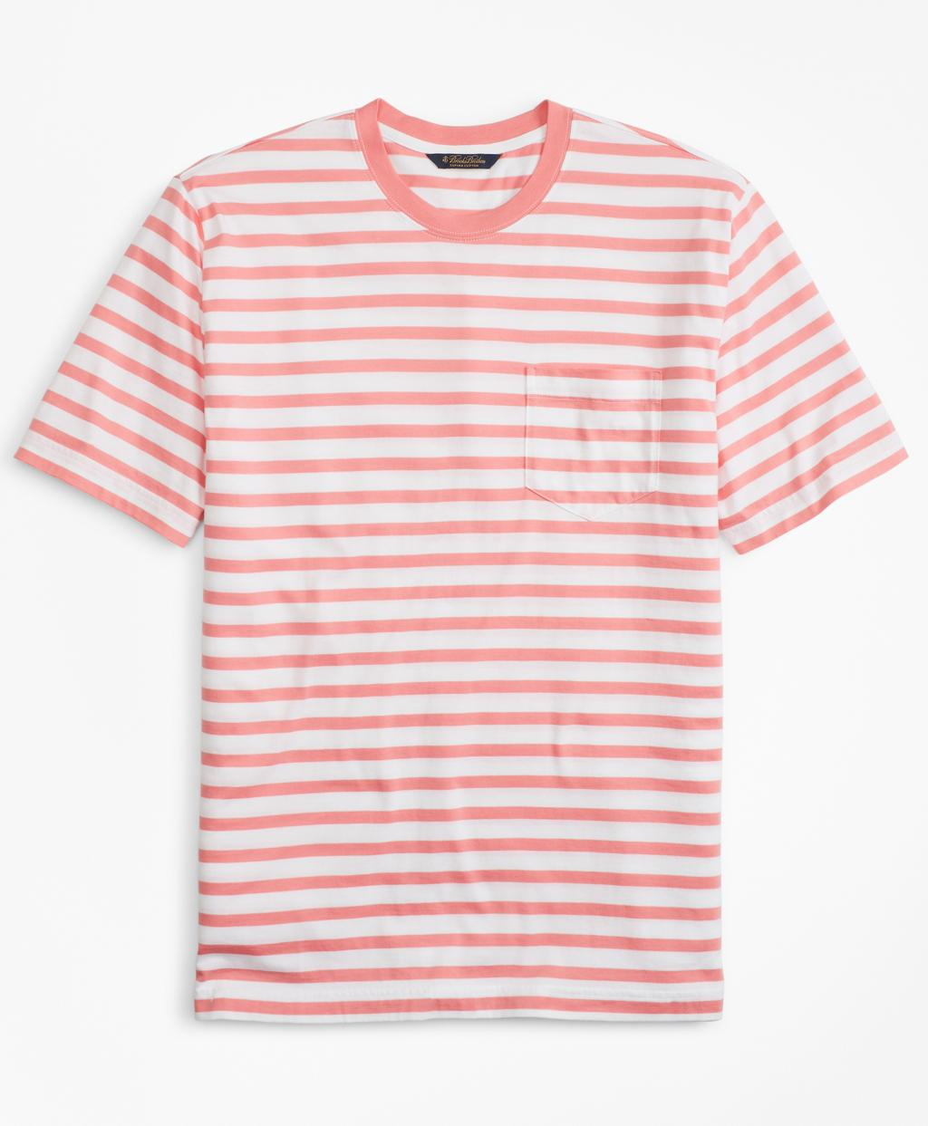 4e7903b8b67 Lyst - Brooks Brothers Supima® Cotton Stripe T-shirt in Pink for Men