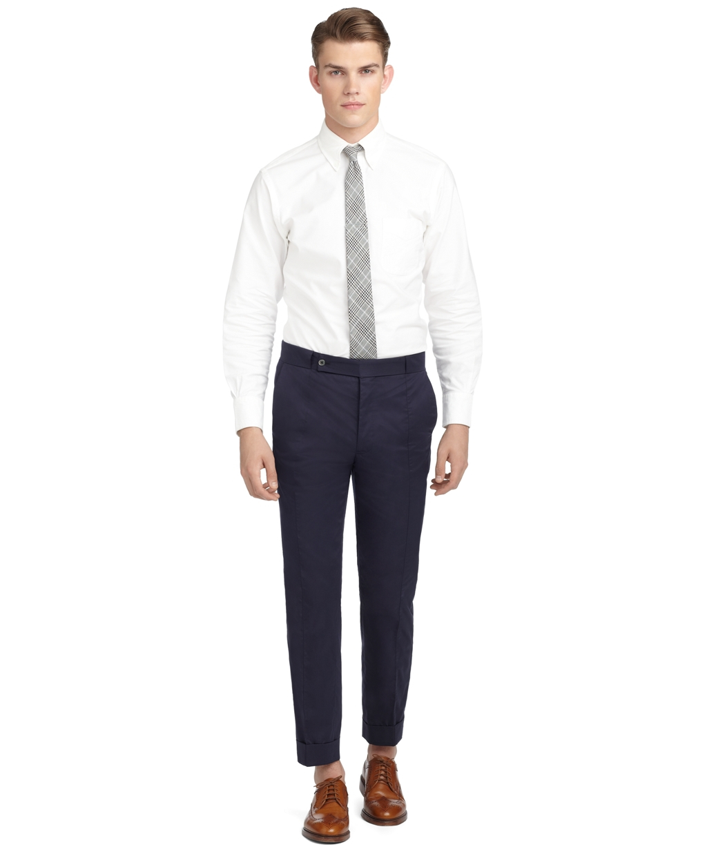 Lyst brooks brothers navy poplin side cut trousers in for Brooks brothers tall shirts