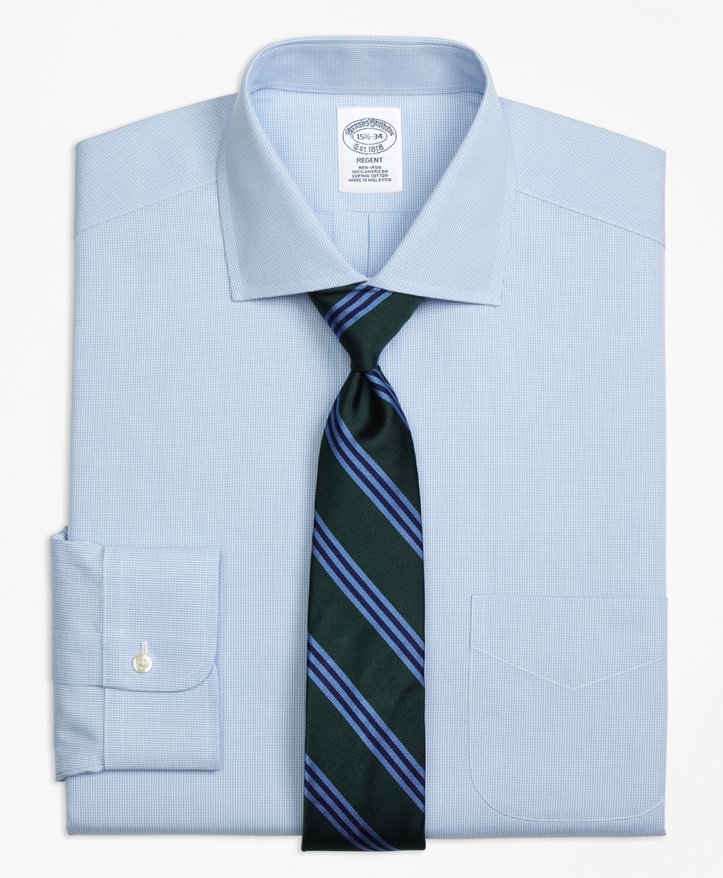 Brooks brothers non iron milano fit houndstooth dress for Brooks brothers dress shirt fit