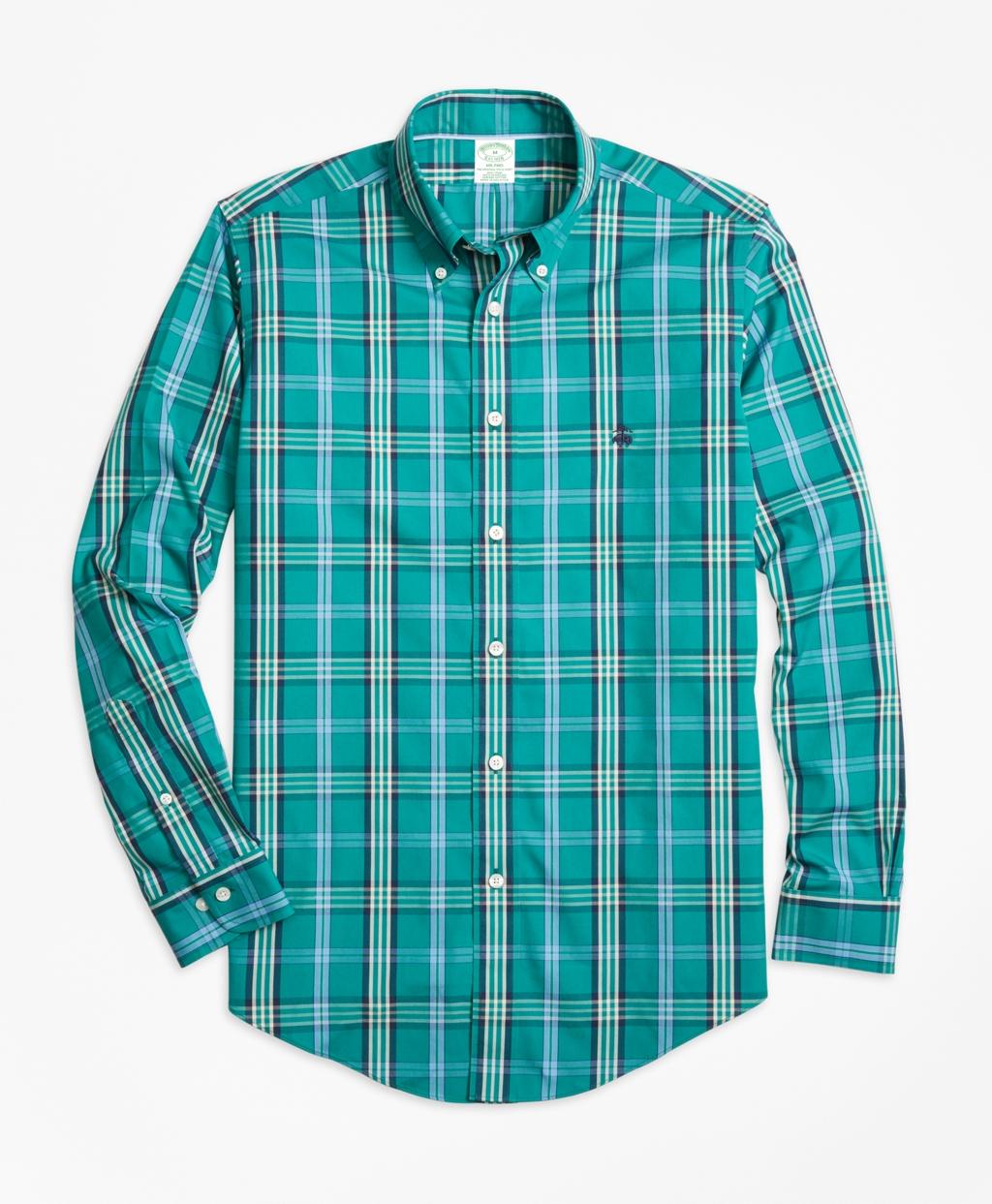 Brooks brothers non iron milano fit signature tartan sport for Brooks brothers sports shirts