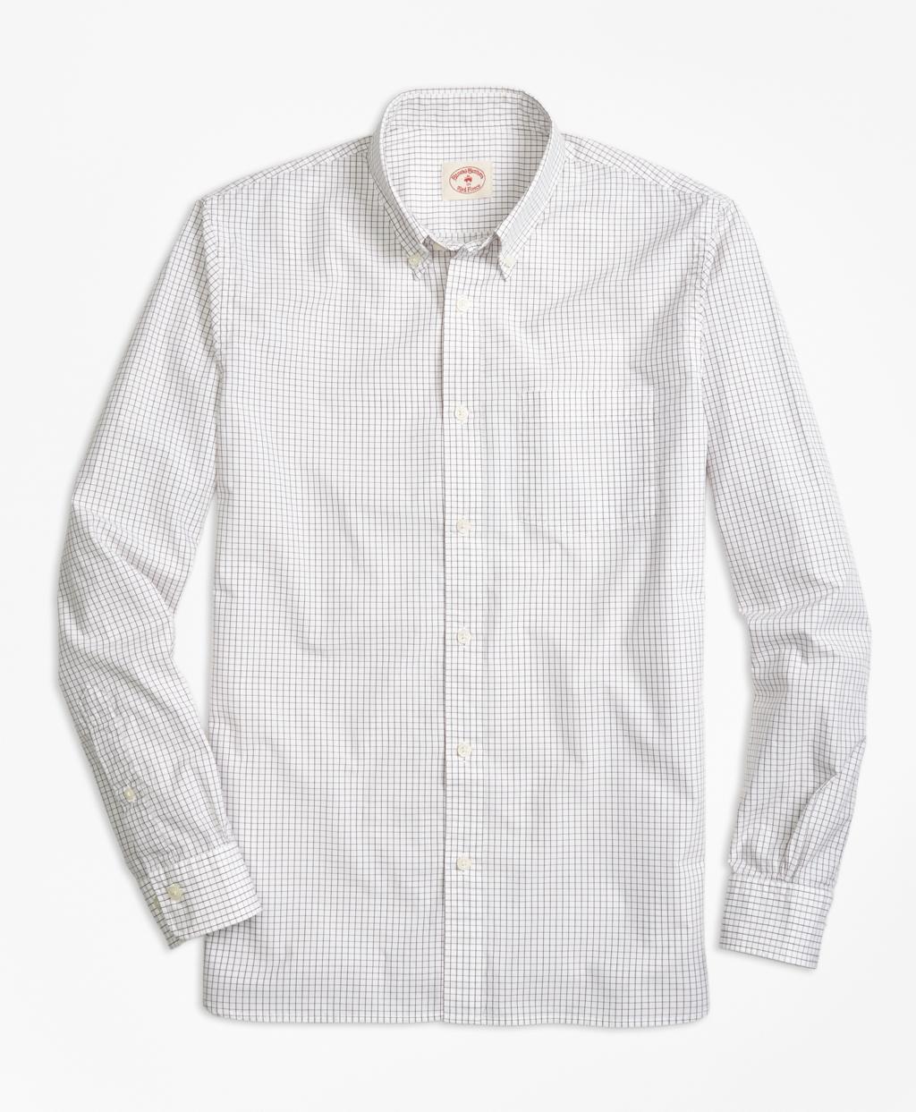 Brooks brothers check broadcloth sport shirt in white for for Brooks brothers sports shirts