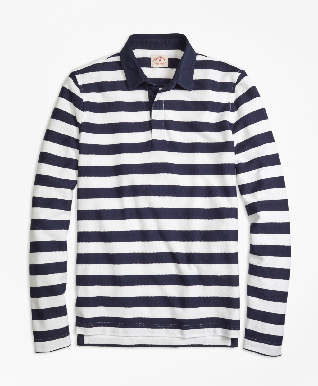 Brooks brothers long sleeve striped rugby shirt in blue for Long sleeve striped rugby shirt