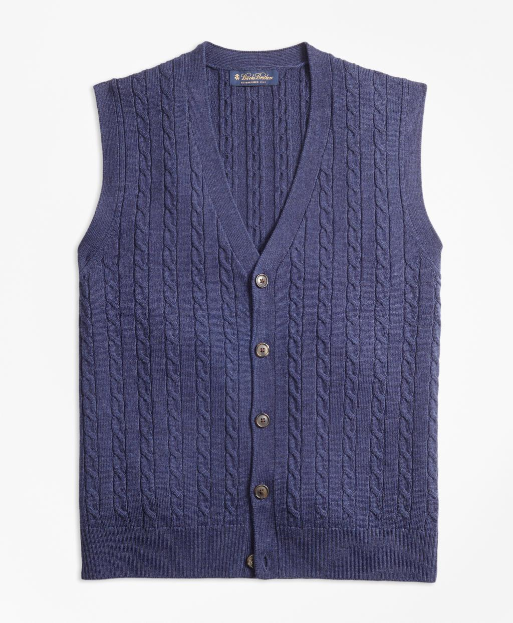 Brooks brothers Merino Wool Cable Button-front Vest in Blue for ...