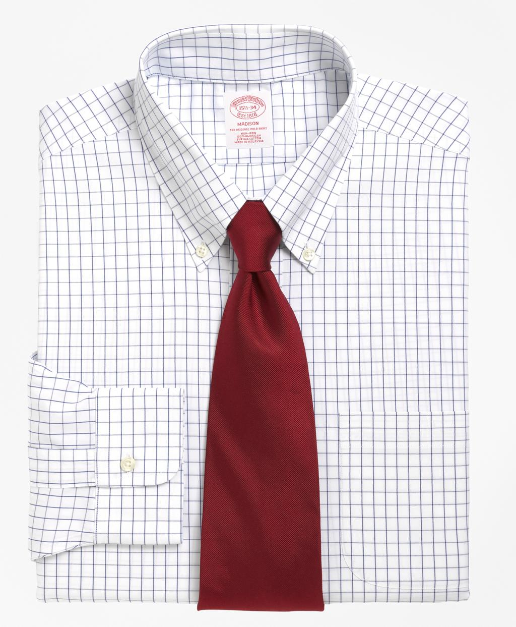 Lyst brooks brothers non iron milano fit windowpane for Brooks brothers dress shirt fit