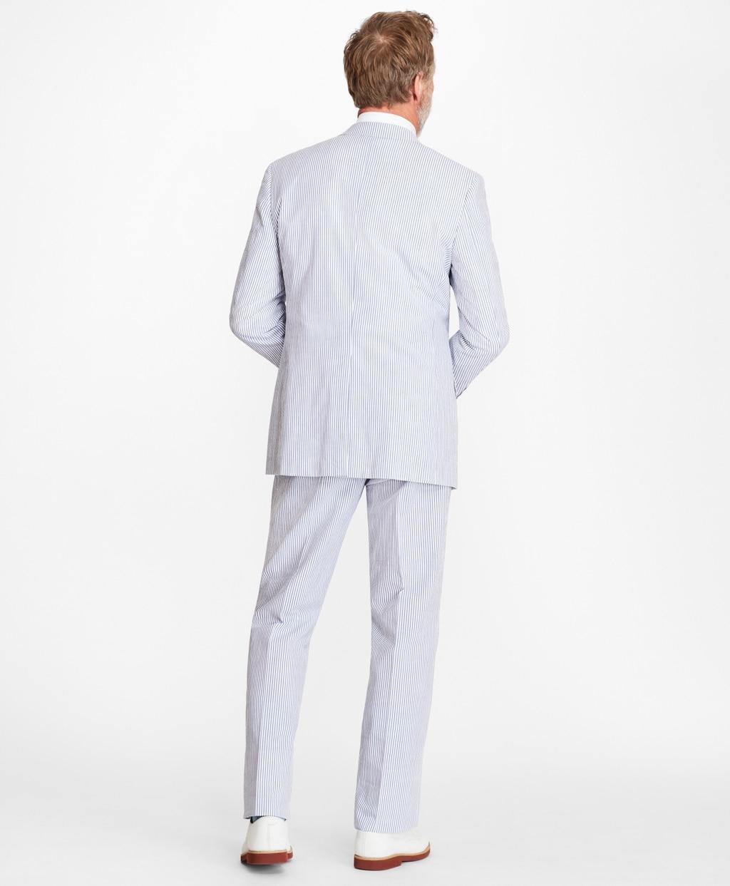 Brooks Brothers Cotton Regular Fit Stripe Seersucker Suit In Blue