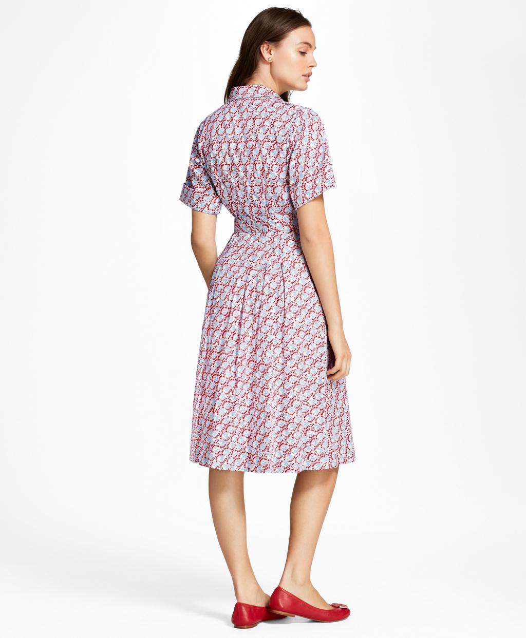 e1de618f579cf2 Brooks Brothers Hula-dancer-print Cotton Sateen Shirt Dress in Red ...