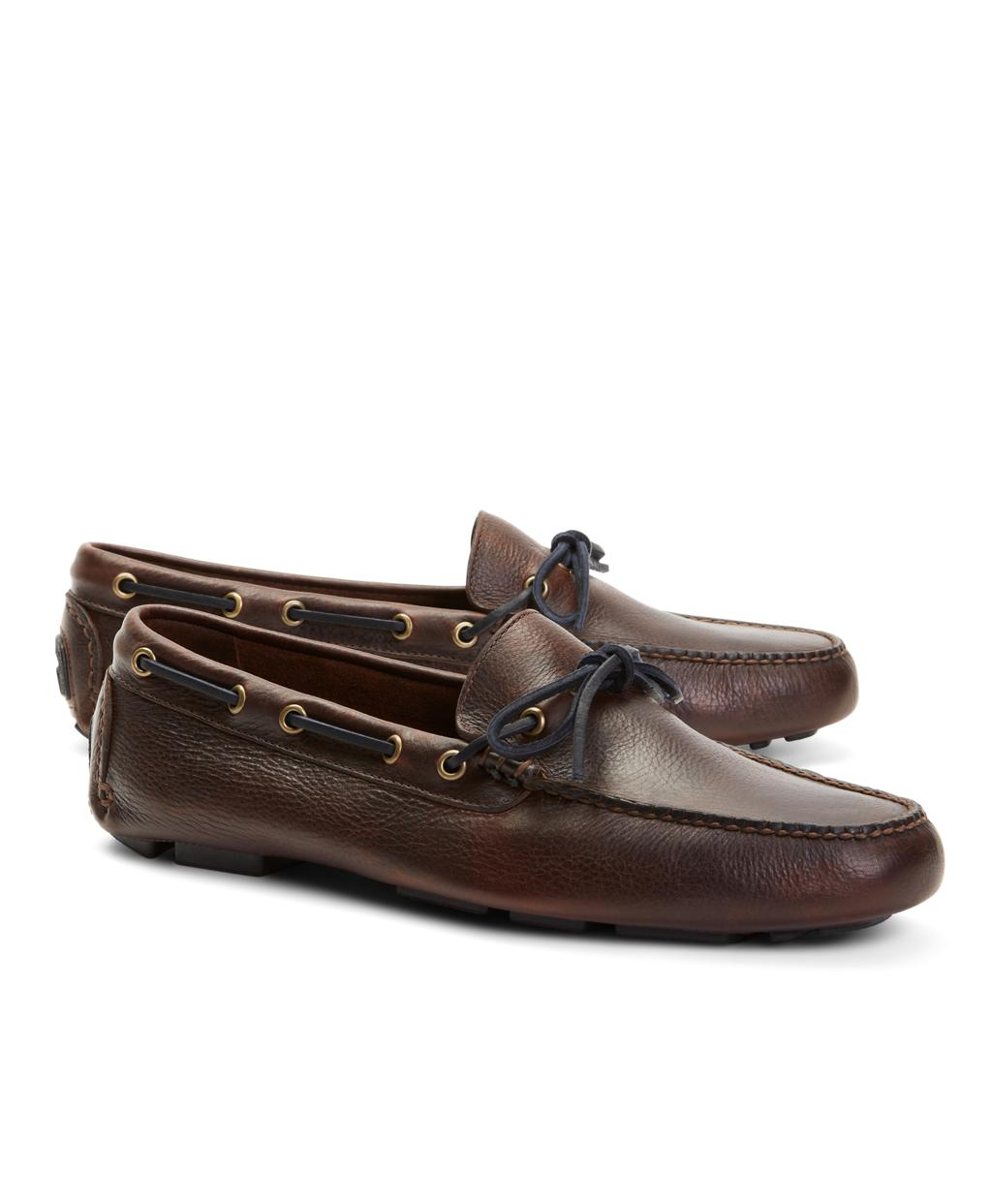 133255bff348 Lyst - Brooks Brothers Pebble Leather Driving Mocs in Brown for Men