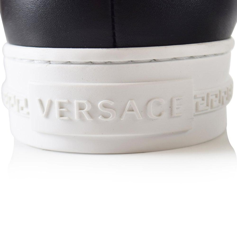 Versace Leather Black Slip-on High Top Palazzo Trainer for Men