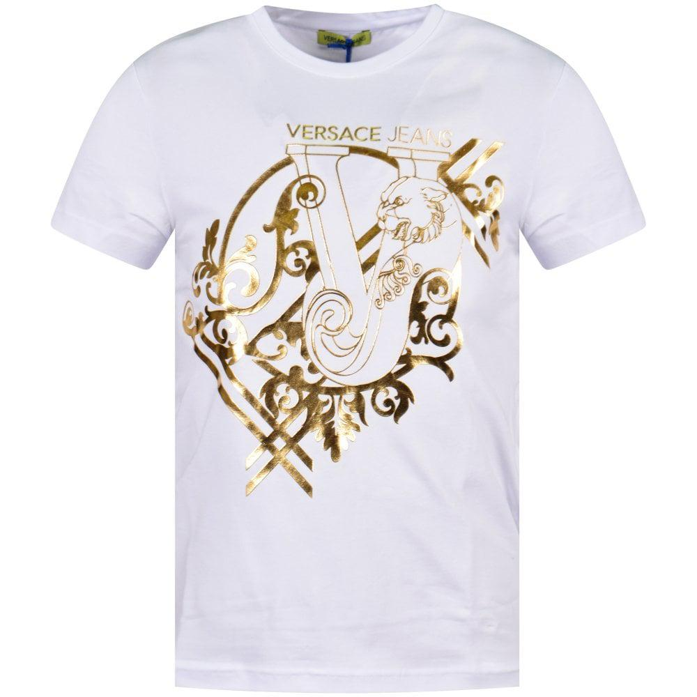 6803b1de Versace Jeans White/gold Graphic T-shirt in White for Men - Lyst