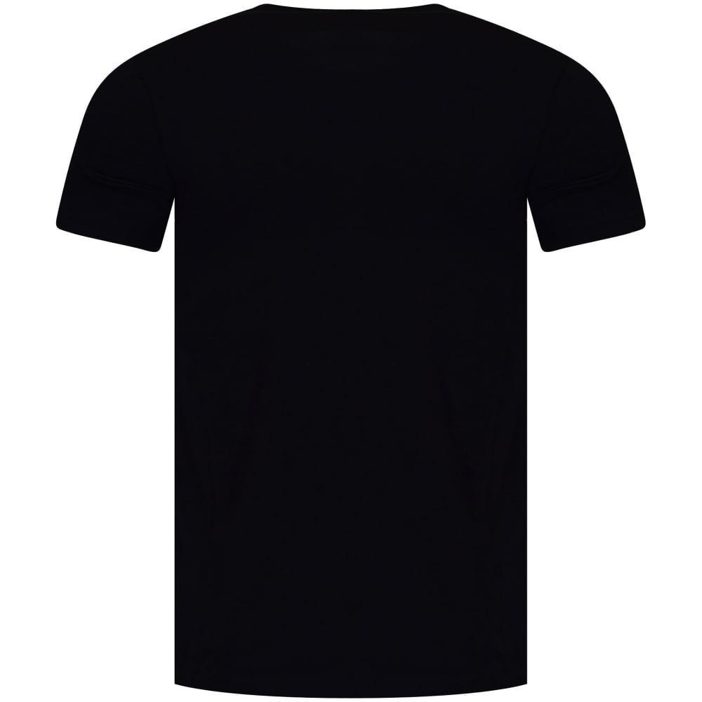 Armani Jeans Navy Yellow Template Logo T Shirt