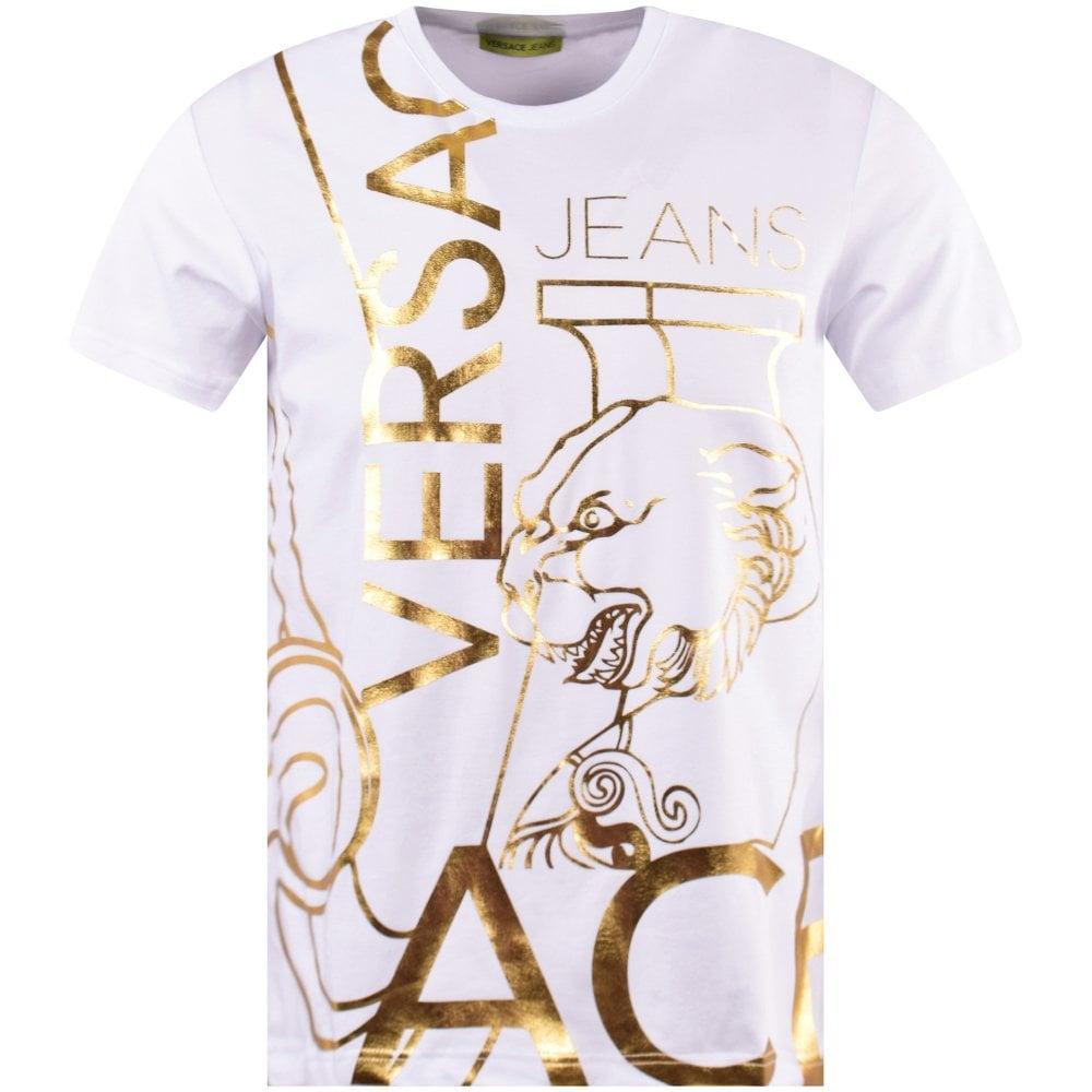 VERSACE JEANS Men/'s White /& Gold T-Shirt 100/% Cotton Brand New /& Authentic