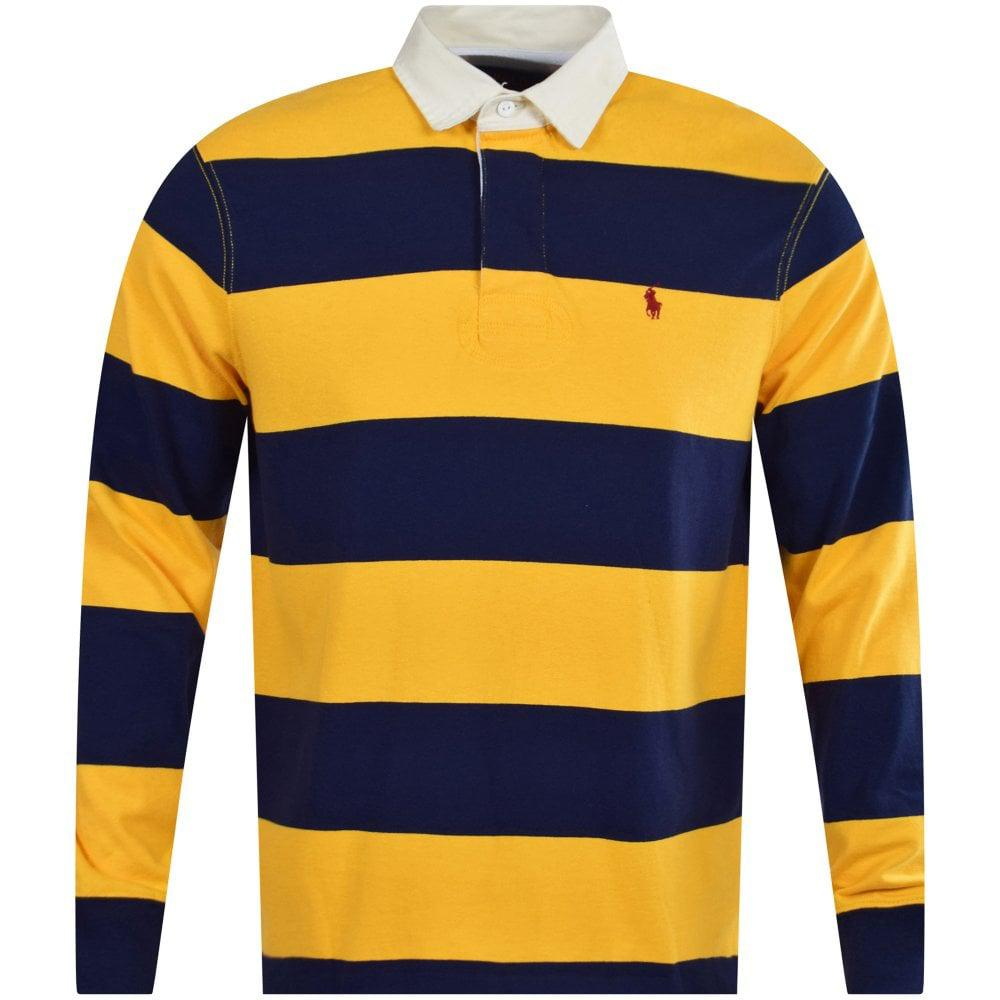 Blue Yellow Stripe Rugby Polo Shirt