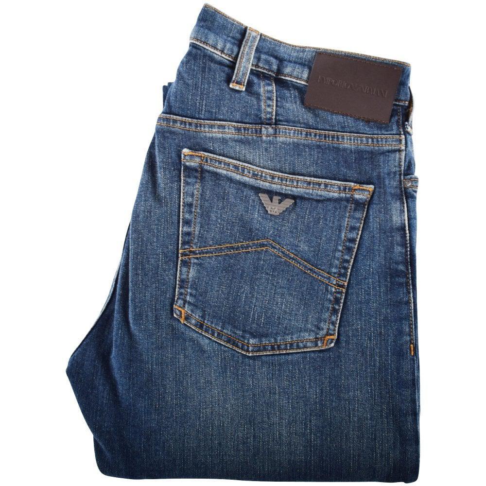00b91614330e Lyst - Emporio Armani Blue J21 Regular Fit Jeans in Blue for Men