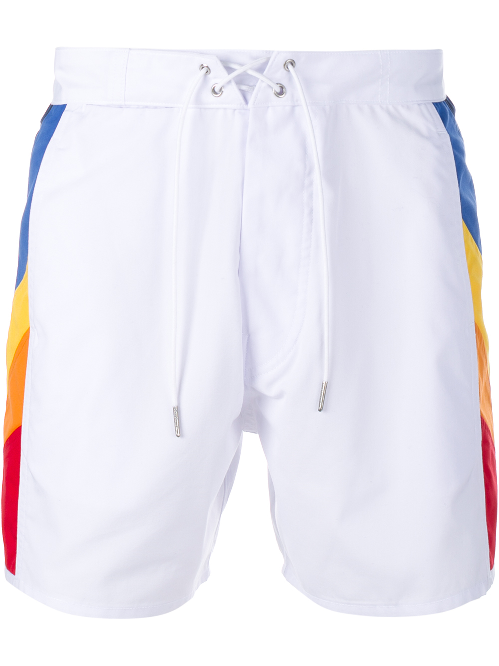 ddcf47d262 Saint Laurent Swimming Trunks With Rainbow Side Panels in White for ...