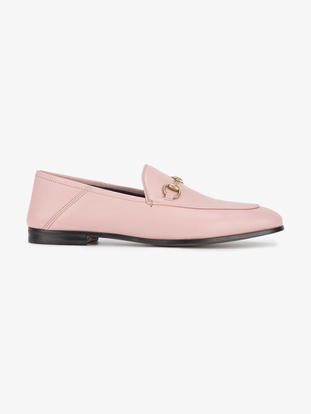 456181b9f34 Lyst - Gucci Pink Brixton Leather Loafers in Pink
