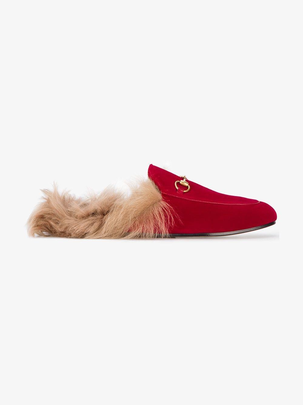 c145546568b Gucci Red Princetown Velvet Fur Lined Mules in Red - Save 30% - Lyst