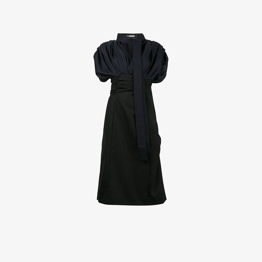 Jacquemus V Neck Puff Sleeve Dress In Blue Lyst