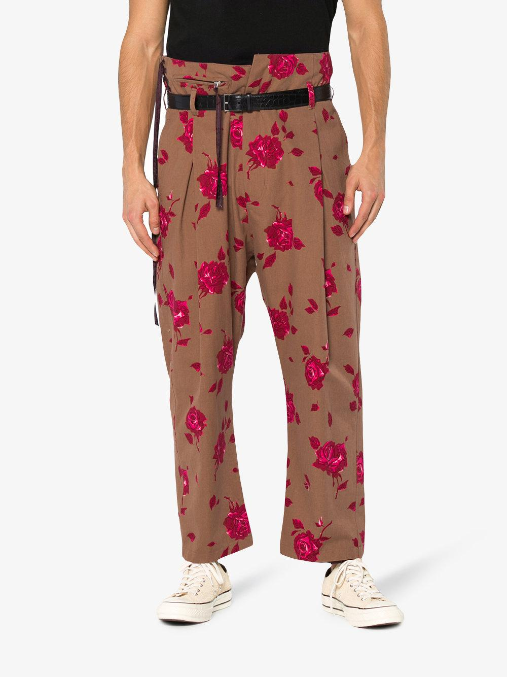 BED j.w. FORD Cotton Floral Print High Waisted Trousers in Red for Men