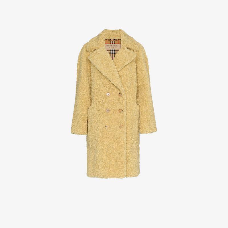 Blend Shearling Wool Breasted Faux Lillingstone Double Burberry Coat vZUqBU