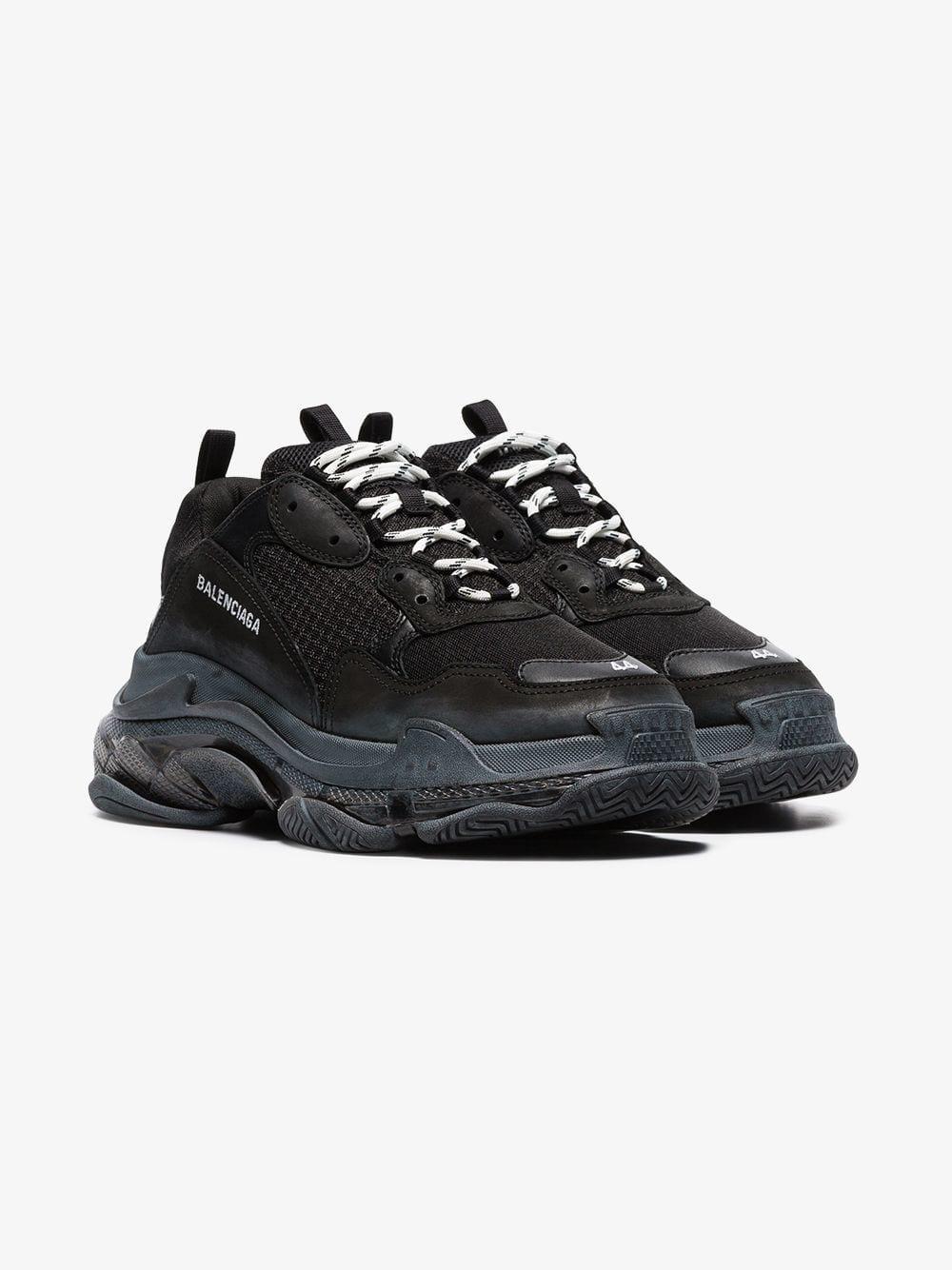 585a246da4b32 Balenciaga - Black Triple S Clear Sole Sneakers for Men - Lyst. View  fullscreen