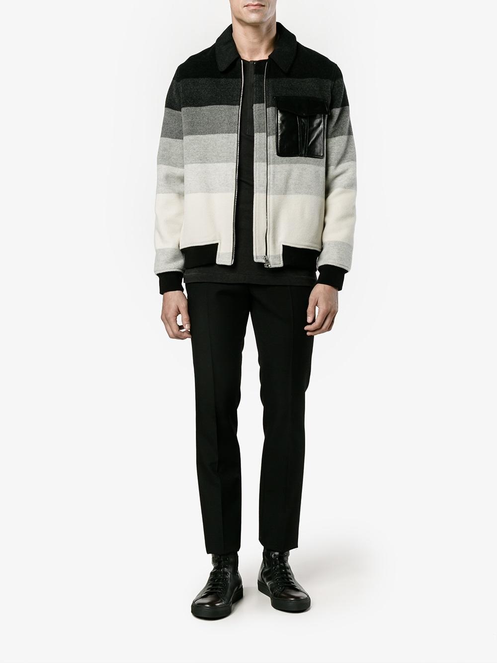 JW Anderson Wool Striped Bomber Jacket in Black (Natural) for Men