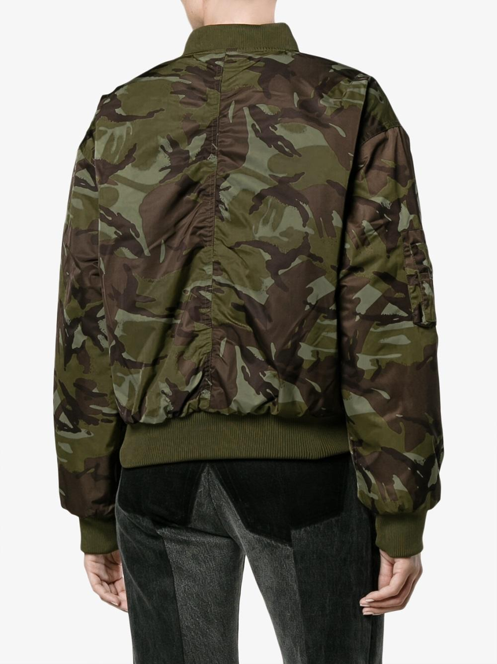 Ganni Camouflage Print Shell Bomber Jacket In Green Lyst