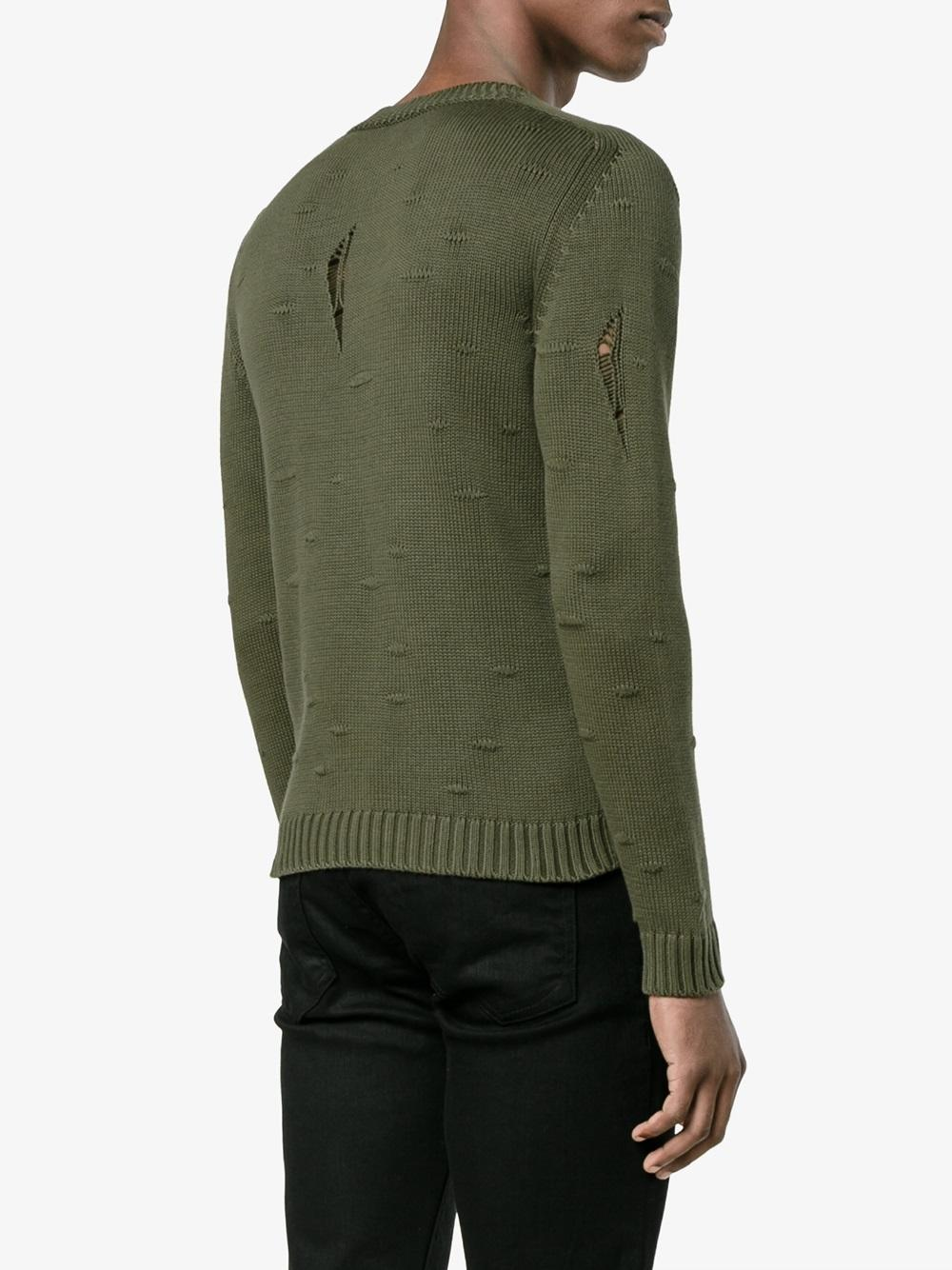 Etro Cotton Distressed Jumper in Green for Men