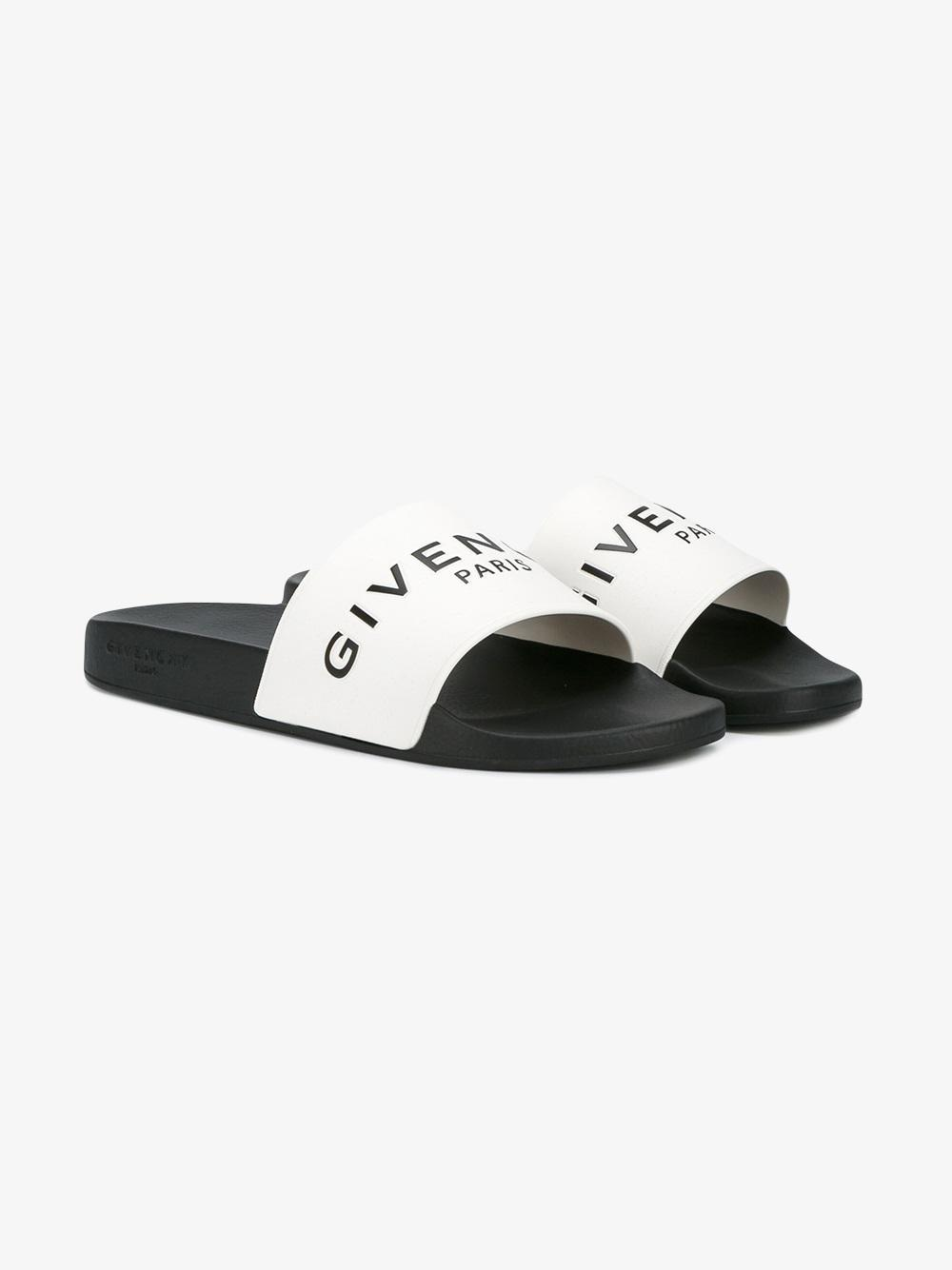 2df332f010958 Givenchy Logo Embossed Slides in White for Men - Lyst