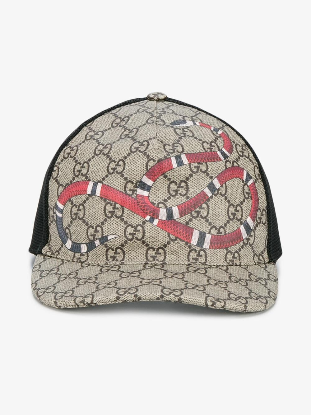5a5a475f94c Gucci Snake Print Gg Supreme Baseball Cap in Brown for Men - Lyst