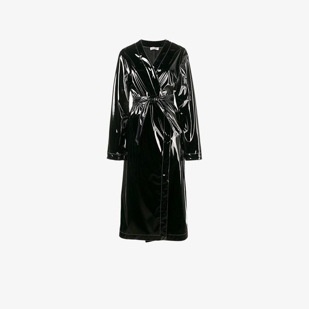 Attico Patent Leather Robe Coat in Black