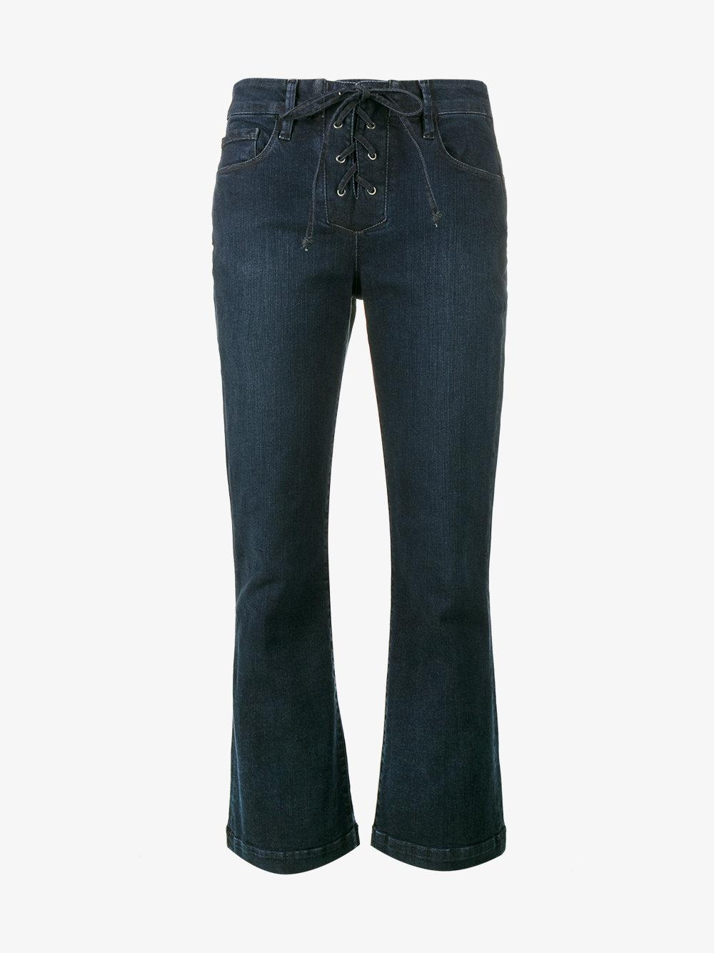 FRAME Denim Le Crop Mini Boot Lace-up Jeans in Blue