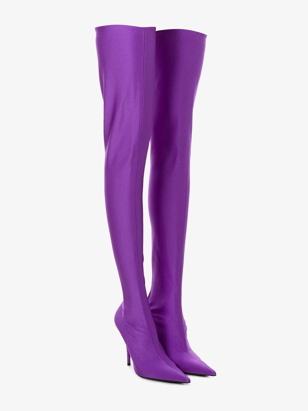 Balenciaga Leather Knife Over-the-knee Booties in Pink/Purple (Purple)