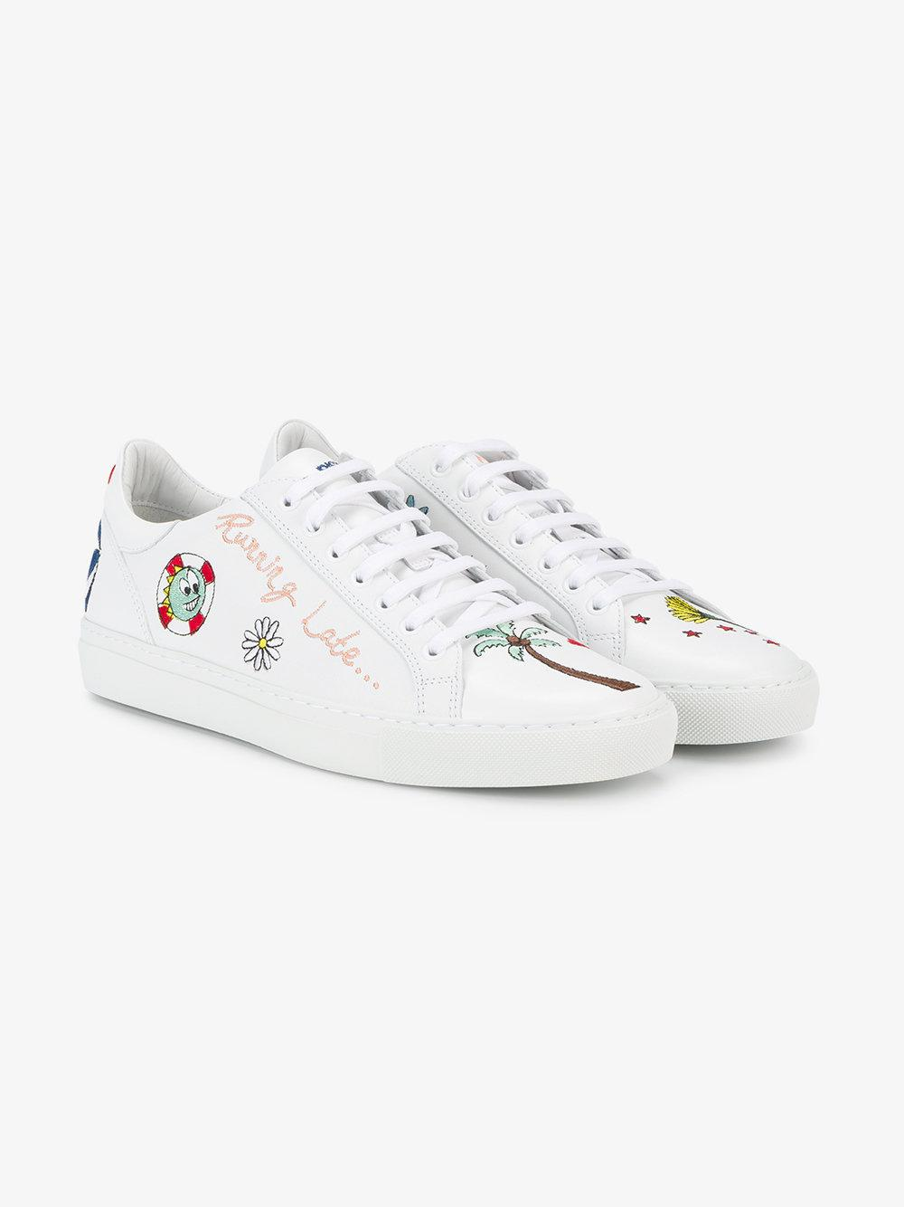 Mira Mikati Cotton Running Late Embroidered Sneakers in White