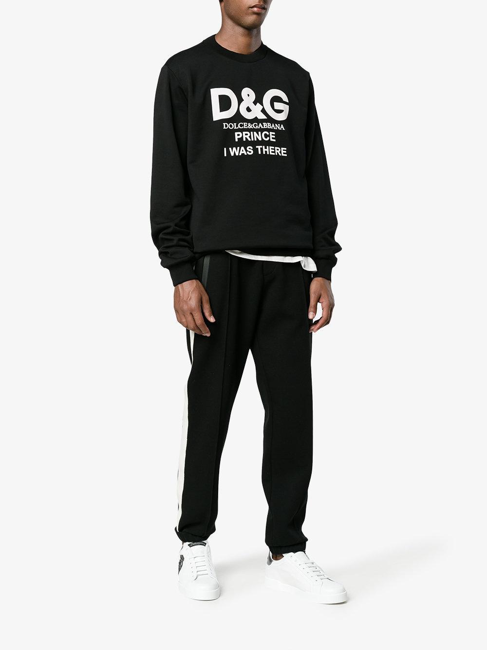 Dolce & Gabbana Cotton Logo Print Sweatshirt in Black for Men