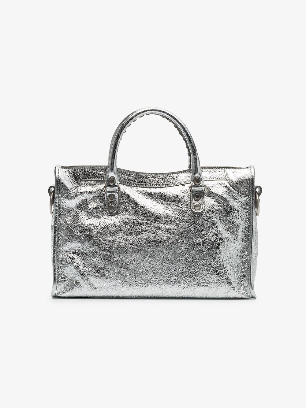 Balenciaga Silver Classic City Small Leather Tote Bag in Grey (Grey)